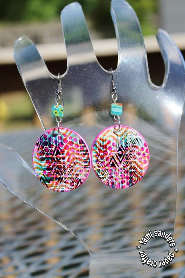 graffitti earrings - tcw,the crafter's workshop,shrink plastic,shrink earrings,shrink plastic jewelry,stenciled jewelry,stenciled shrink,tami sanders - shwm