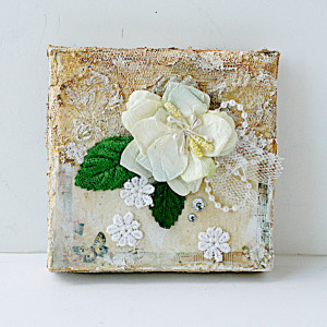 Vintage 4x4 mixed media canvas by Yvonne Yam for The Crafter's Workshop
