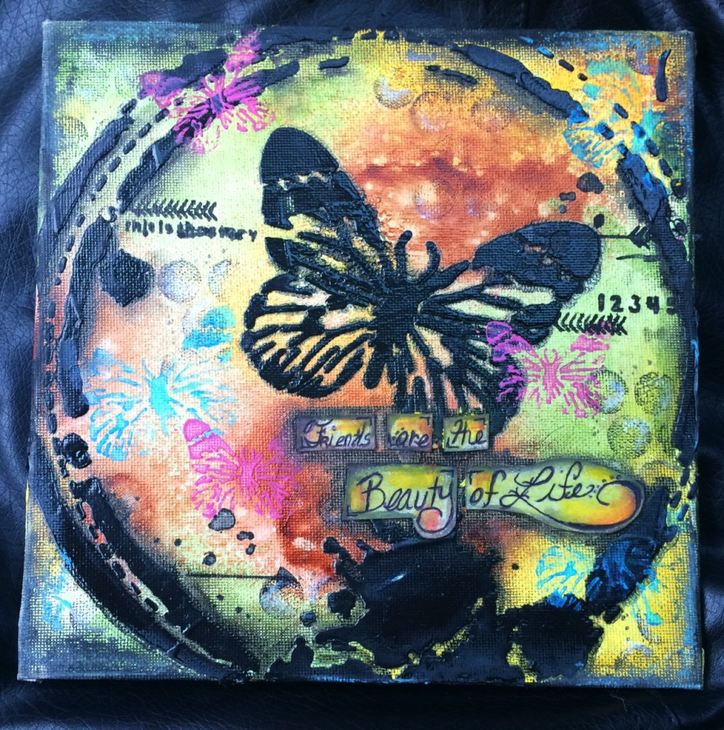 Mixed Media using Butterfly Collage-Full Canvas