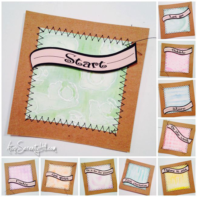 Inspiration For Creatives: cards made using stencils from The Crafter's Workshop • AtopSerenityHill.com #stenciling #inspirationcards #mixedmedia