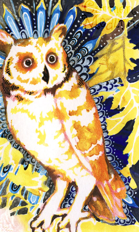 Curious Owl index card art by Carmen Medlin The Crafter's Workshop stencil template