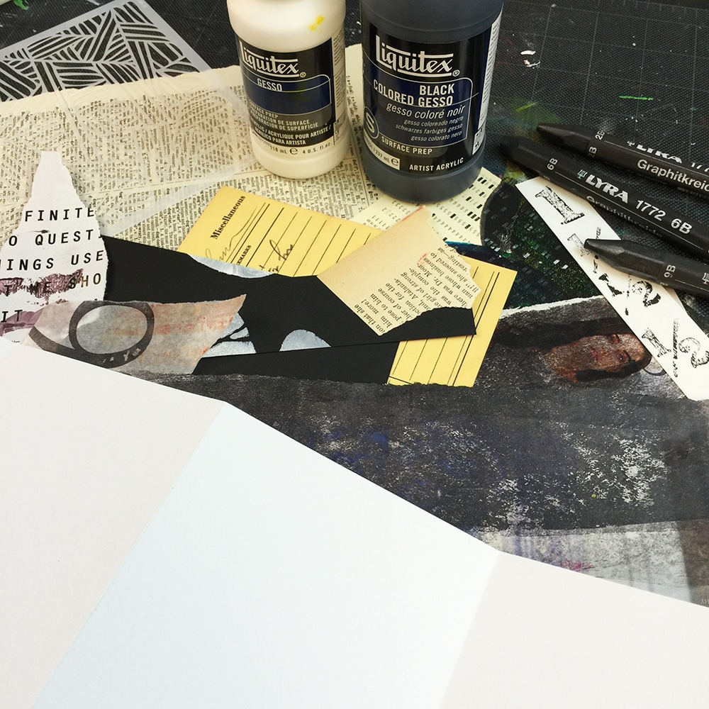 Neutral Ephemera, TCW600 and collected supplies for creating a mixed media art journal.