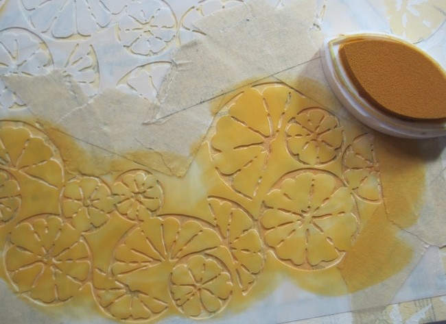 Lefko masked off mini citrus montage stencil and application of fluid chalk ink