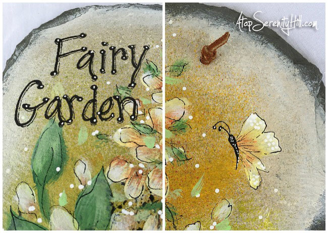 Fairy Garden Slate...perfect for your garden! Created using stencils from The Crafter's Workshop • AtopSerenityHill.com #slate #gardendecor #stencil