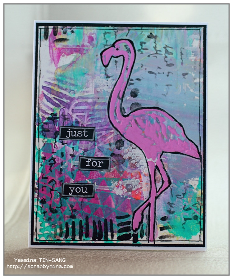 @mina974 card using some TCW stencils and acrylic paint