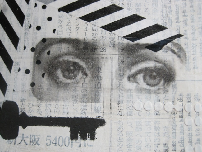 Add image of eyes with packing tape transfer to journal page LEFKO
