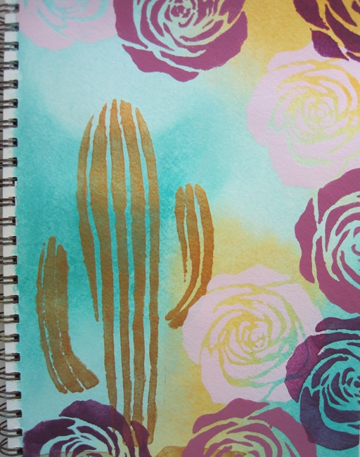 TCW La Rosa and Cactus stencils with acrylic paint on art journal page LEFKO