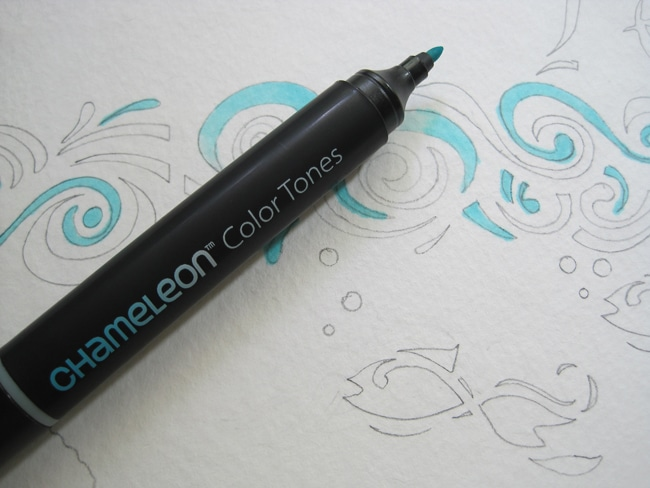 Fill in TCW stenciled images with Chameleon Pen on journal page Lefko