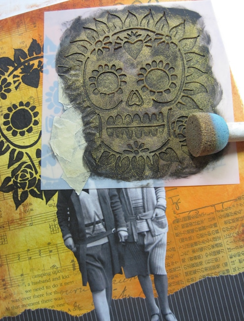 Gold gesso over black for shimmery sugar skull TCW653s. Lefko