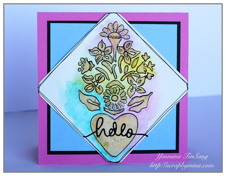Hello card by Yasmina TINSANG using TCW652s Corazon stencil and new mediums by TCW (Modeling Paste and Gold Gesso)