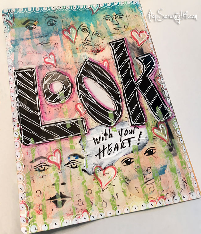 An art journal page using stencils from The Crafter's Workshop and prompts from Mission Inspiration • AtopSerenityHill.com #stencil #artjournal #mixedmedia