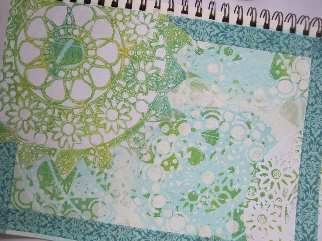 Washi tape and collage elements applied to journal page LEFKO