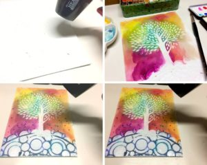 Watercolor and stencils combined