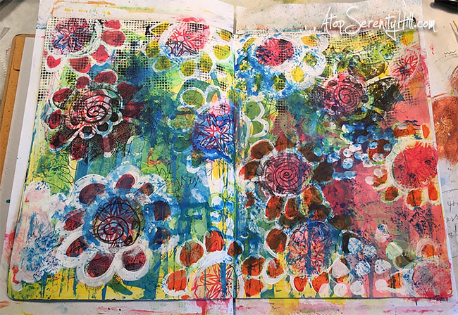 Art journal play using stencils from The Crafter's Workshop • AtopSerenityHill.com #stencil #artjournal #mixedmedia
