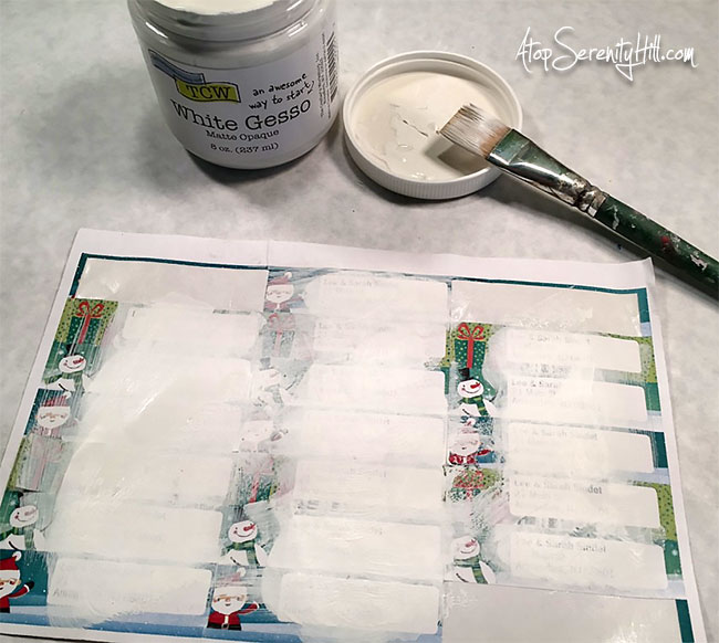 Recycle old address labels with paint and stencils from The Crafter's Workshop • AtopSerenityHill.com #happymail #stencil #christmaslabels