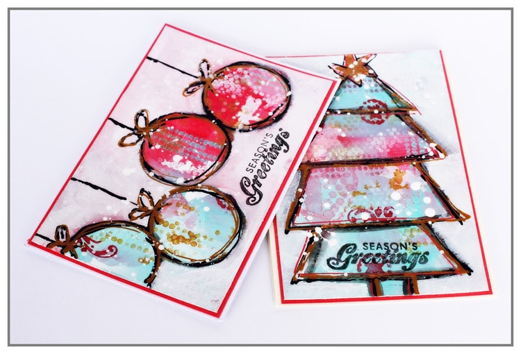 Mixed Media Greeting Cards by Yasmina TINSANG with The Crafters Workshop stencils and Arcylic Paint