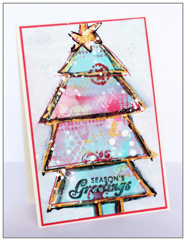 Christmas card with TCW stencils and acrylic Paint by Yasmina TINSANG