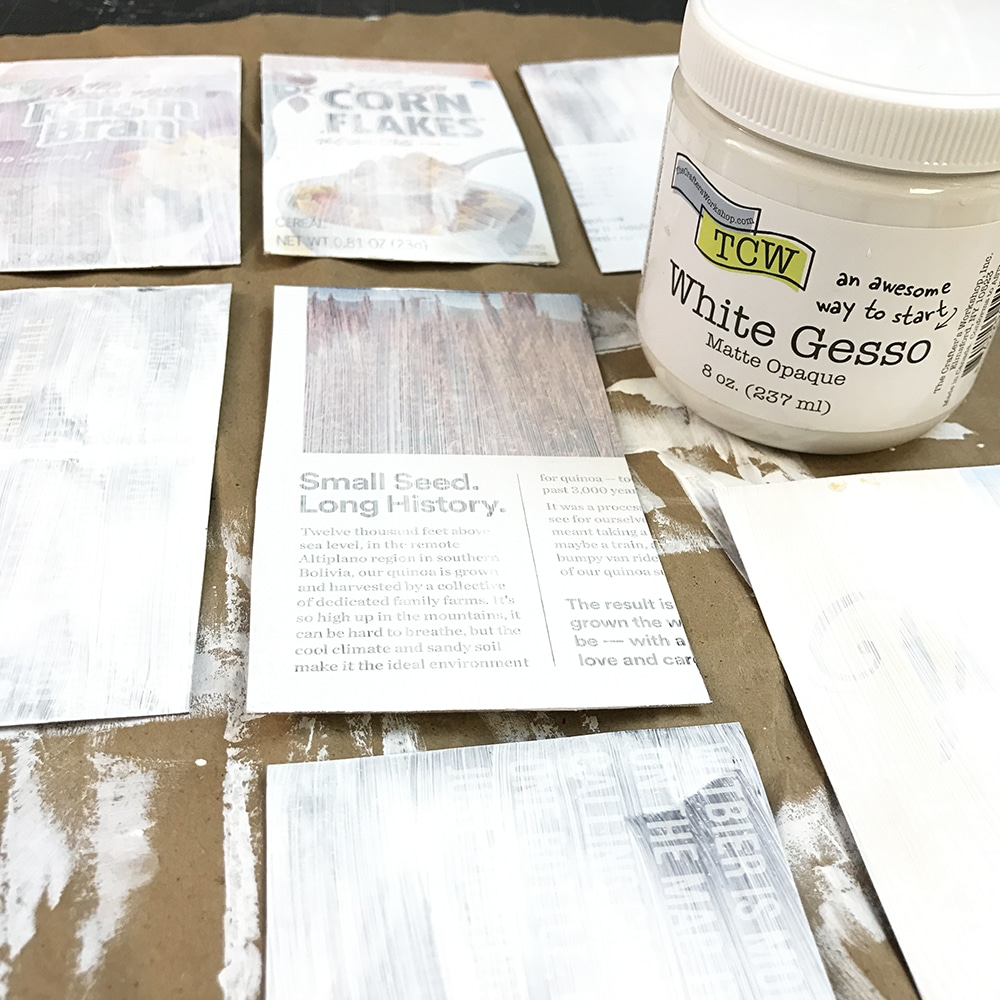 Gesso all of your pages with TCW White Gesso