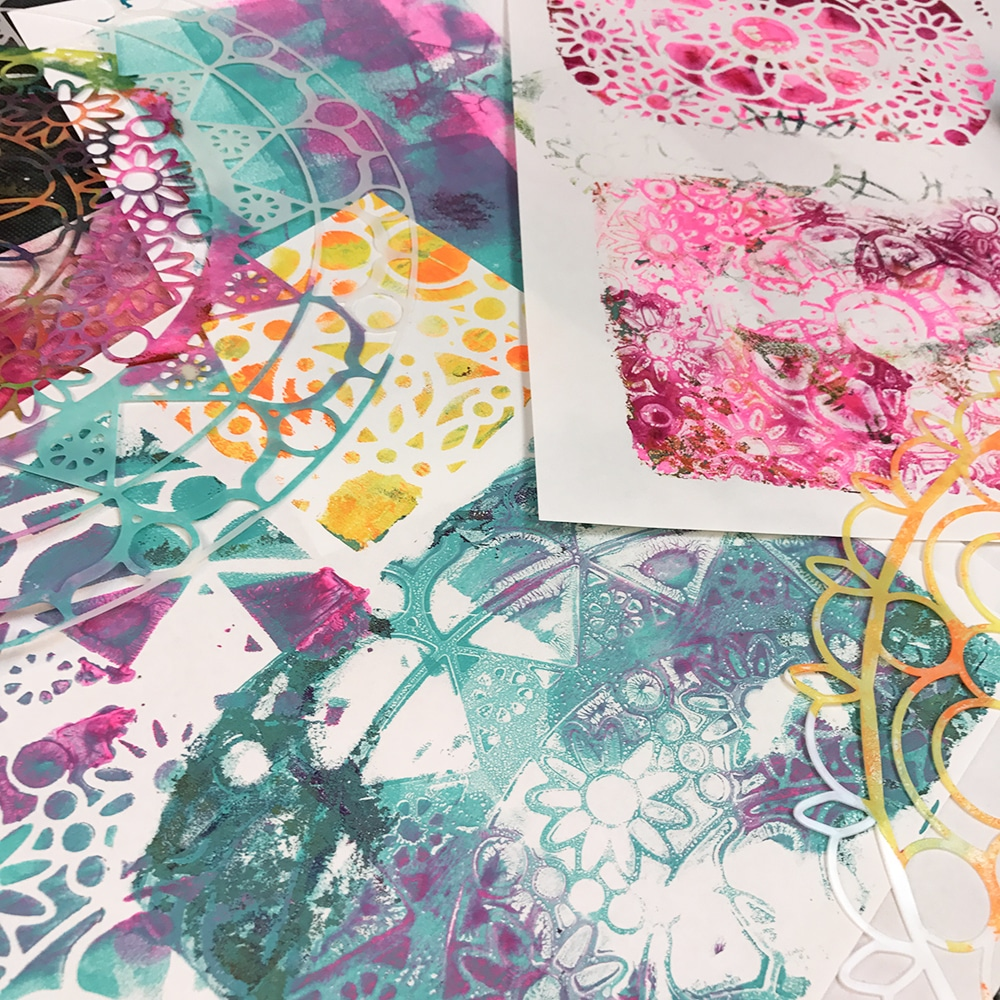 Gelli Printing with stencils!