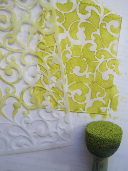 TCW Endlss Swirls stencil and citron acrylic paint LEFKO