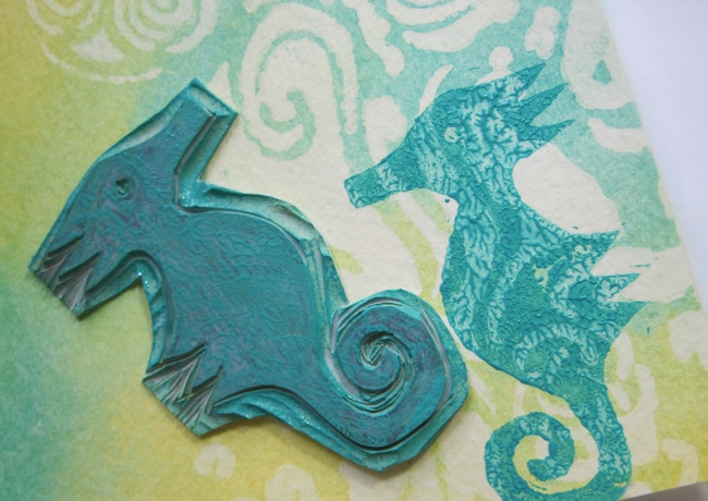 Hand carved seahorse stamp with acrylic paint LEFKO