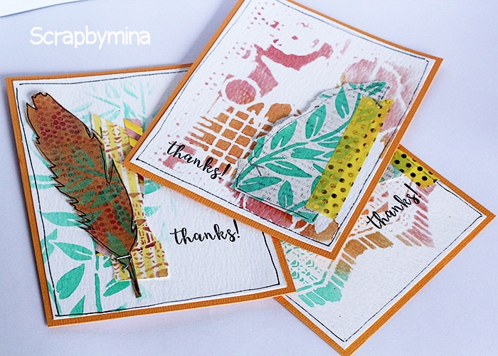 A binch of thank you cards by Yasmina with new TCW Winter2017 stencils