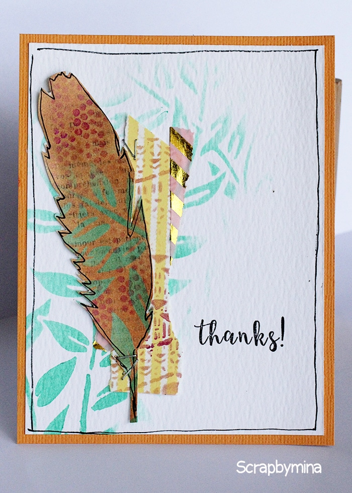 Thank you card usin TCW715s Four Feathers and TCW658s Jungle Vines