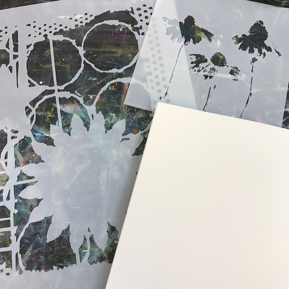Stencils and a blank page just waiting to create