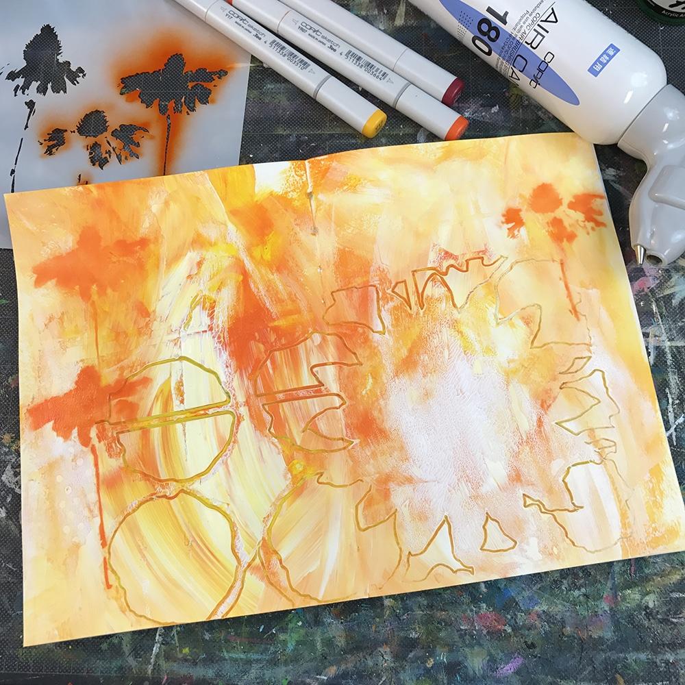 Art journal page in progress.