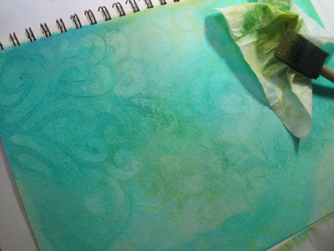 Citron and aqua acrylic paint over dried gesso LEFKO