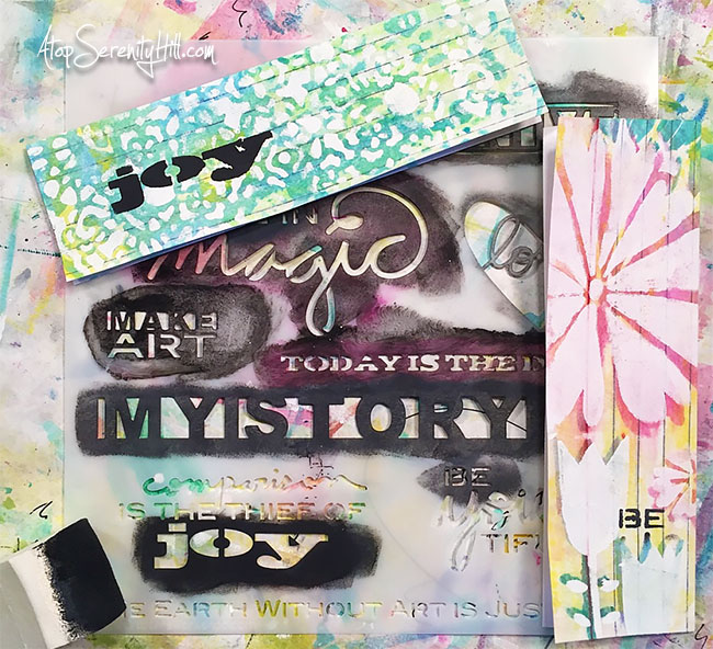 Index card bookmarks created using stencils from The Crafter's Workshop • AtopSerenityHill.com