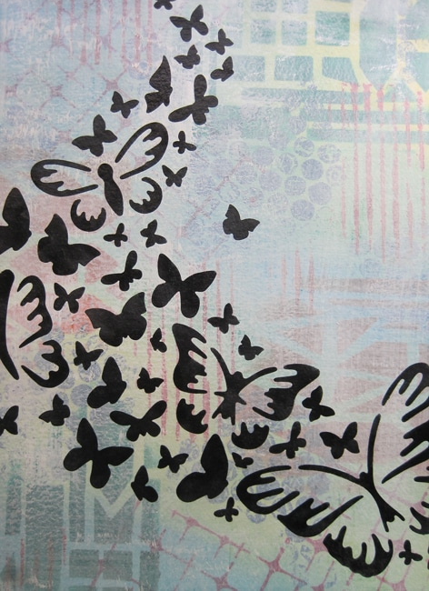 TCW Butterfly Trail stencil and apply black ink with foam applicator LEFKO