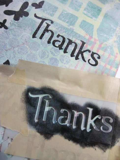 "Add ""Thanks"" from TCW Happy Greetings stencil LEFKO"