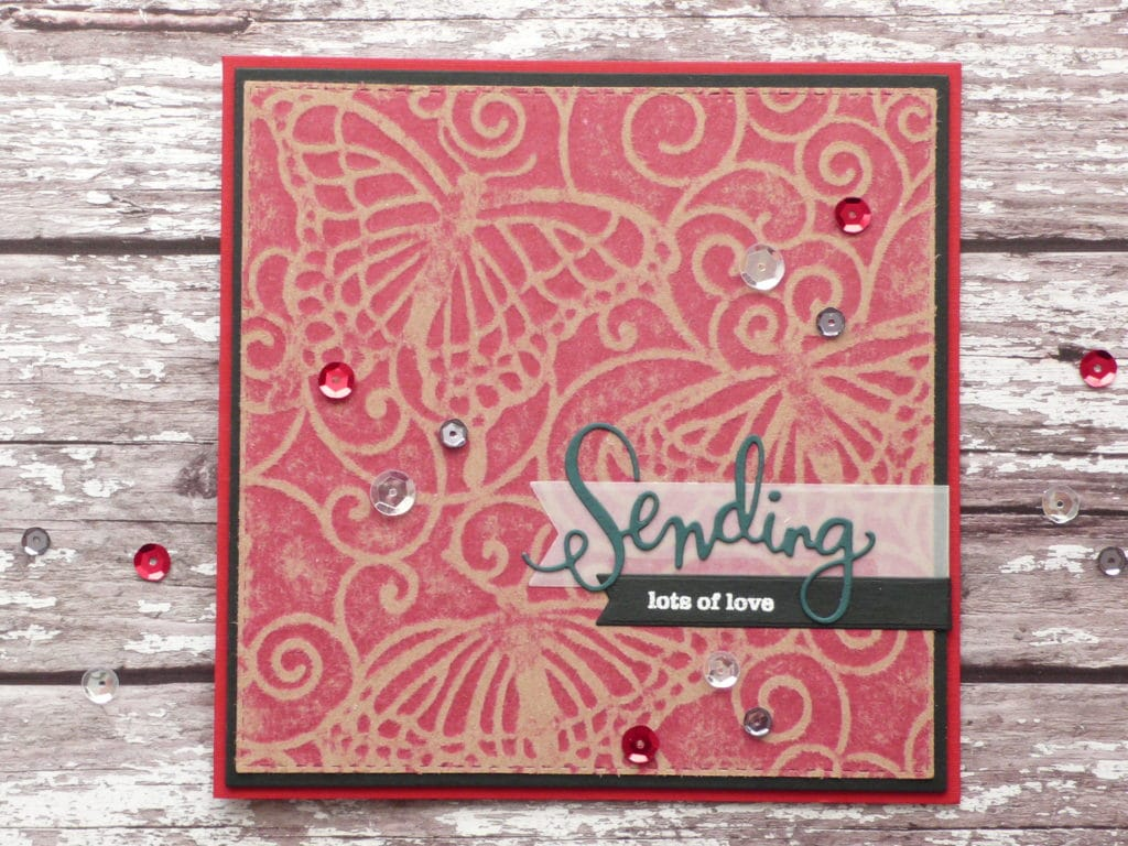 Easy handmade card using TCW Flutterby Stencil and Dry Embossing Technique. DT Heidi