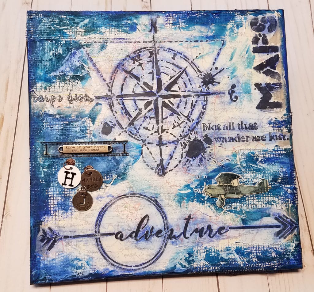 Patty Eskridge Adventure Mixed Media Canvas finished project