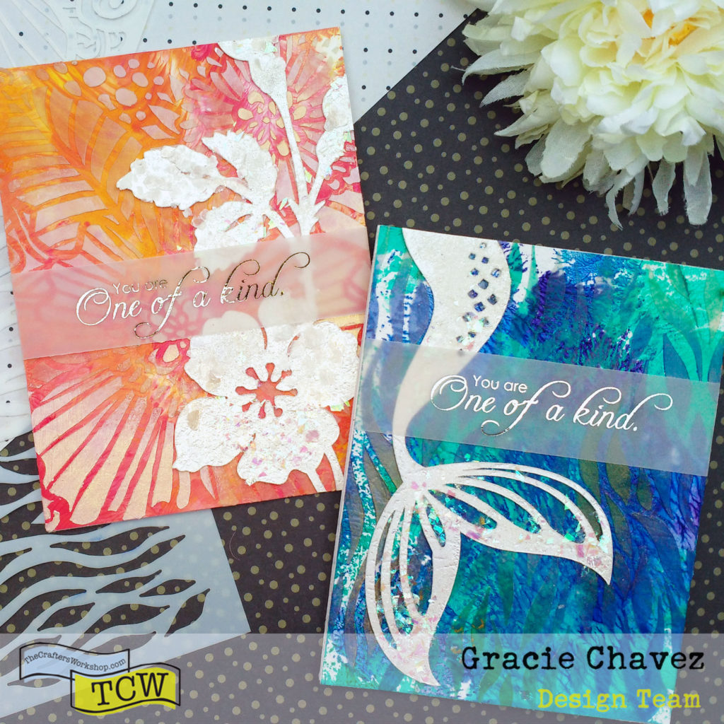 Smooshed Paint with TCW Stencils, Heavy Body Paint and Grafix Monoprint Plates by GracieChavez_4