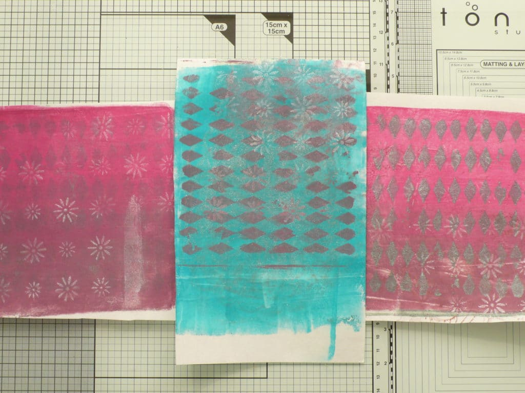 How to create a decorated small gift box using Gel Press prints and stencils