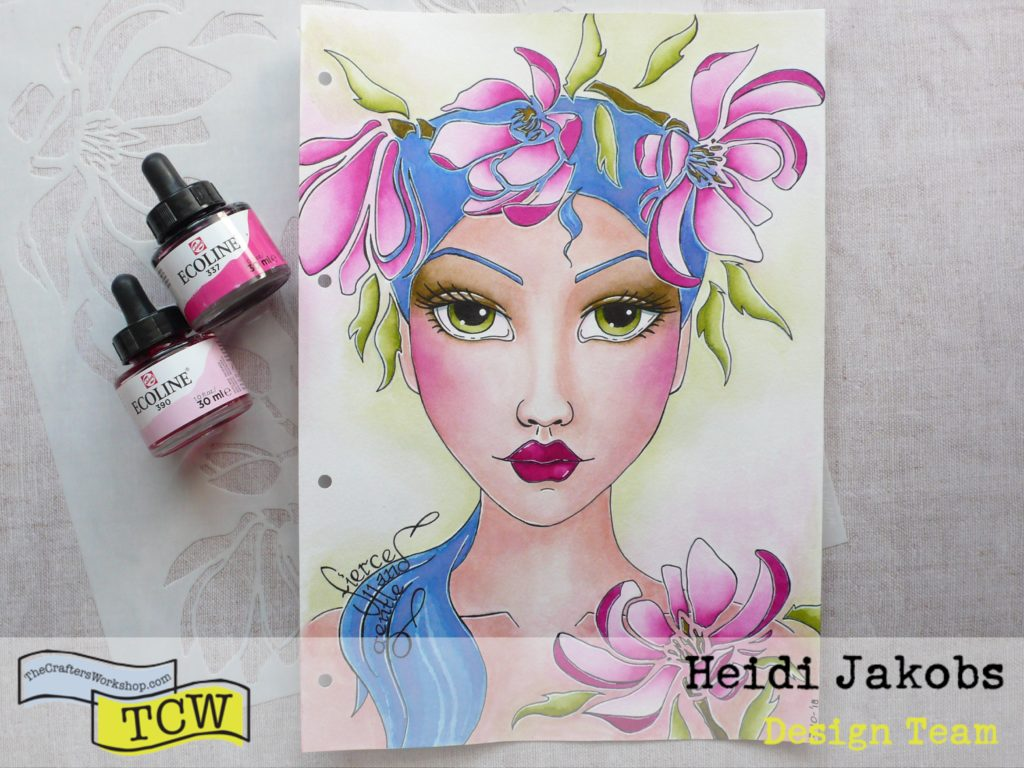 Step by step tutorial on how to create a fun art journal page using magnolia stencil