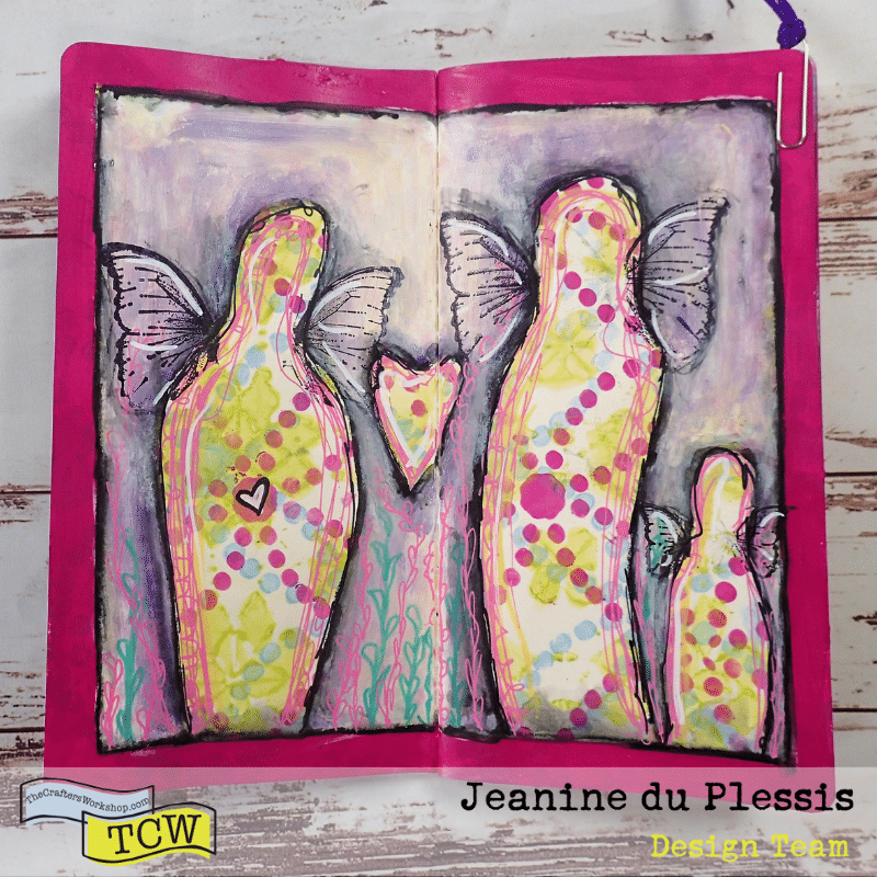 Page done, details added like highlights and shadows.  Al 3 figures have wings added  and one figure has a small heart in its belly. #familylove #familyfigures #butterflyfigures #artjournalpage