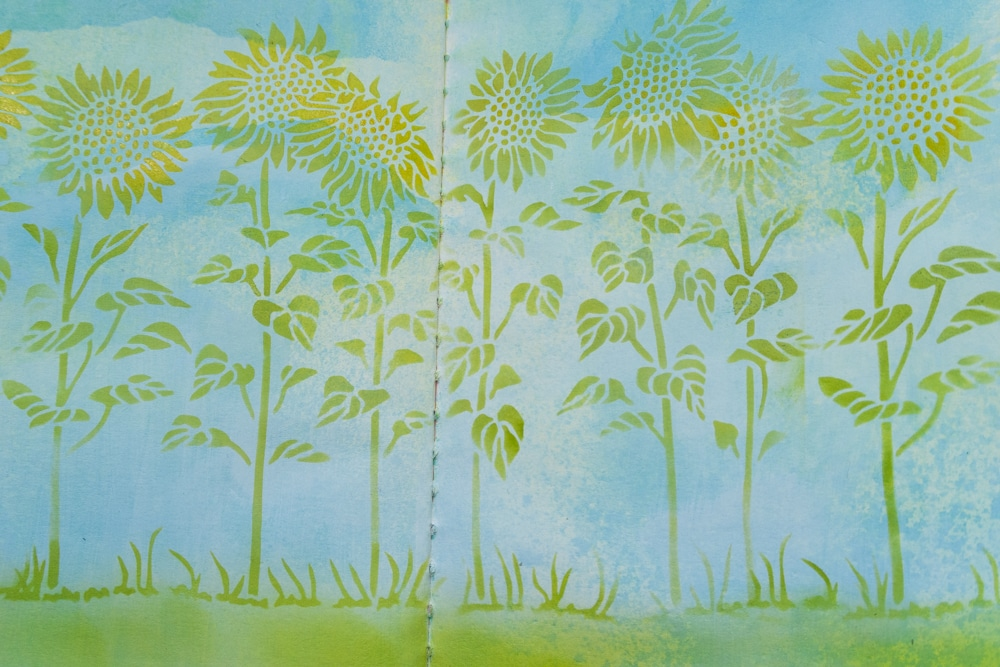 The Crafter's Workshop Blog stencilling with TCW863 Sunflower Meadow - close up