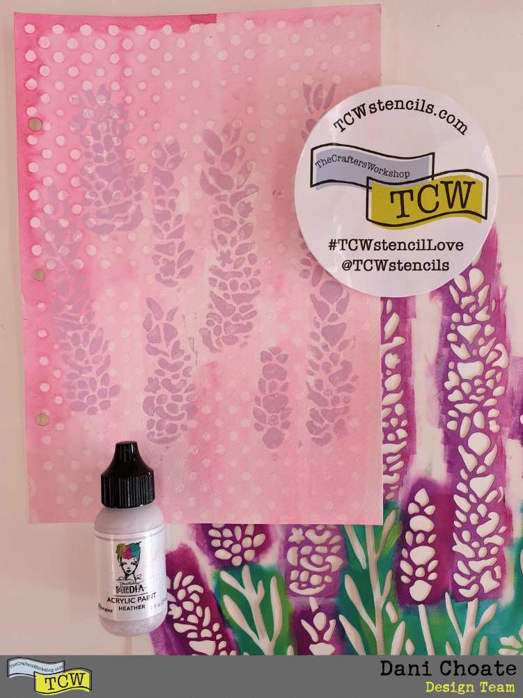 TCW860Lavender stencil and stenciled page with Dina Wakley Heather paint