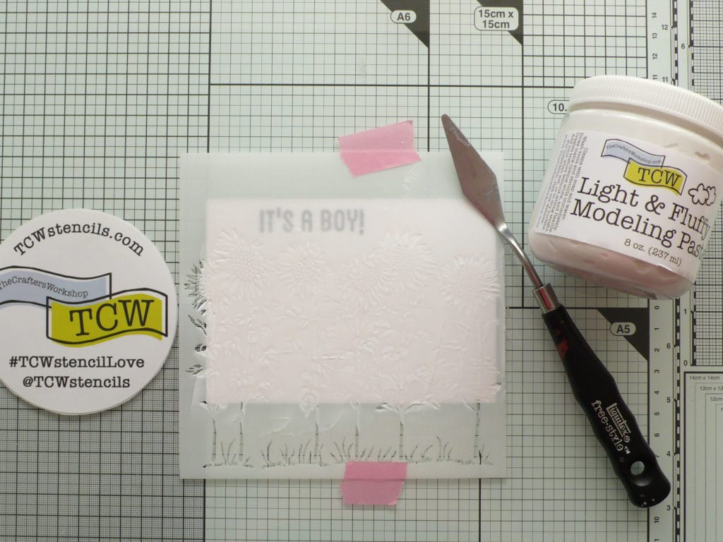 Step by step tutorial on how to create cute and fun baby cards using TCW stencil