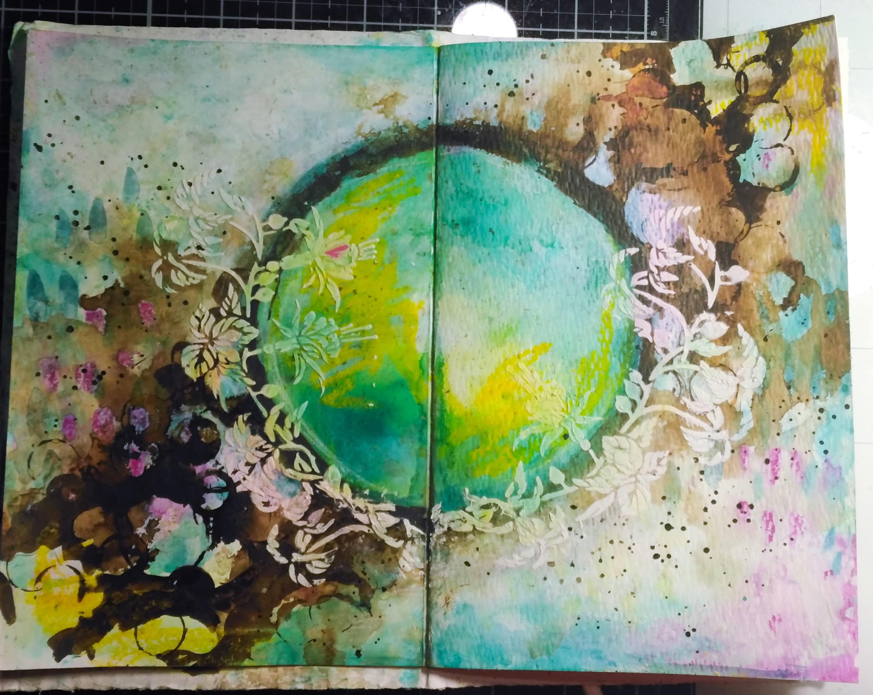 Art journal spread, texture with Opaque Modeling paste and The Crafter's Workshop stencil