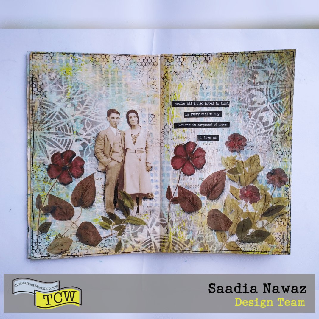 A vintage art journal spread made with acrylic paints, distress oxide inks and stencils. #tcwstencillove