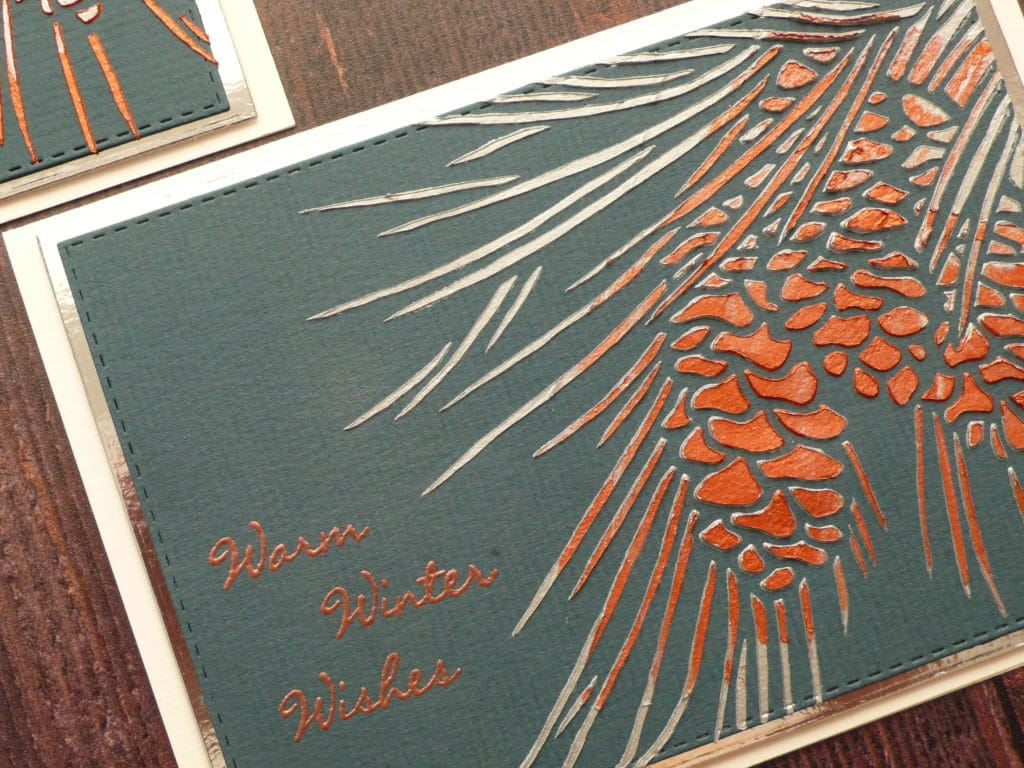 Step by step tutorial on how to create easy Christmas cards using metallic modeling paste