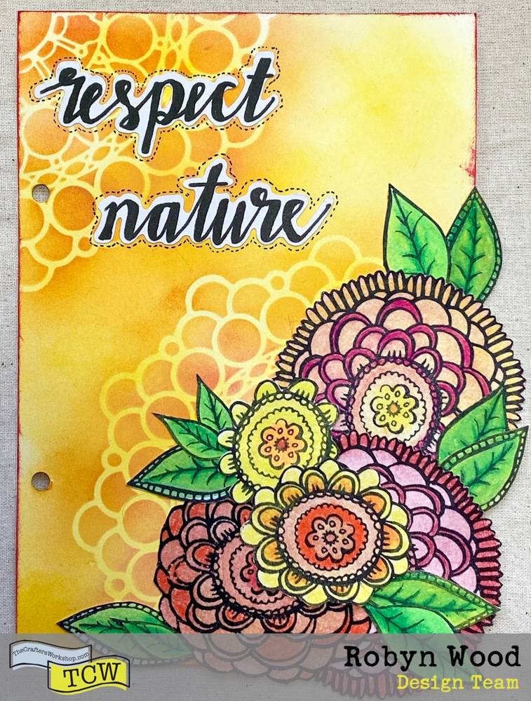 The Crafter's Workshop blog post - Respect Nature – a stencilled art journal page by Robyn Wood