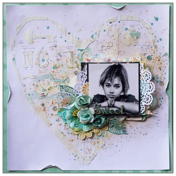 Mixed Media layout using a gorgeous stencil TCW641 Number 10 from The Crafter's Workshop
