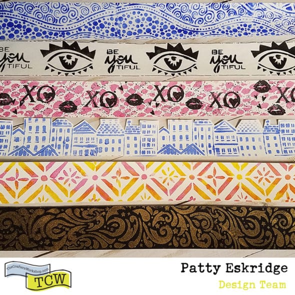 Patty_Eskridge_ART_TAPE_PLAY_for_The_Crafter's_Workshop. Six samples of mixed media art tape.
