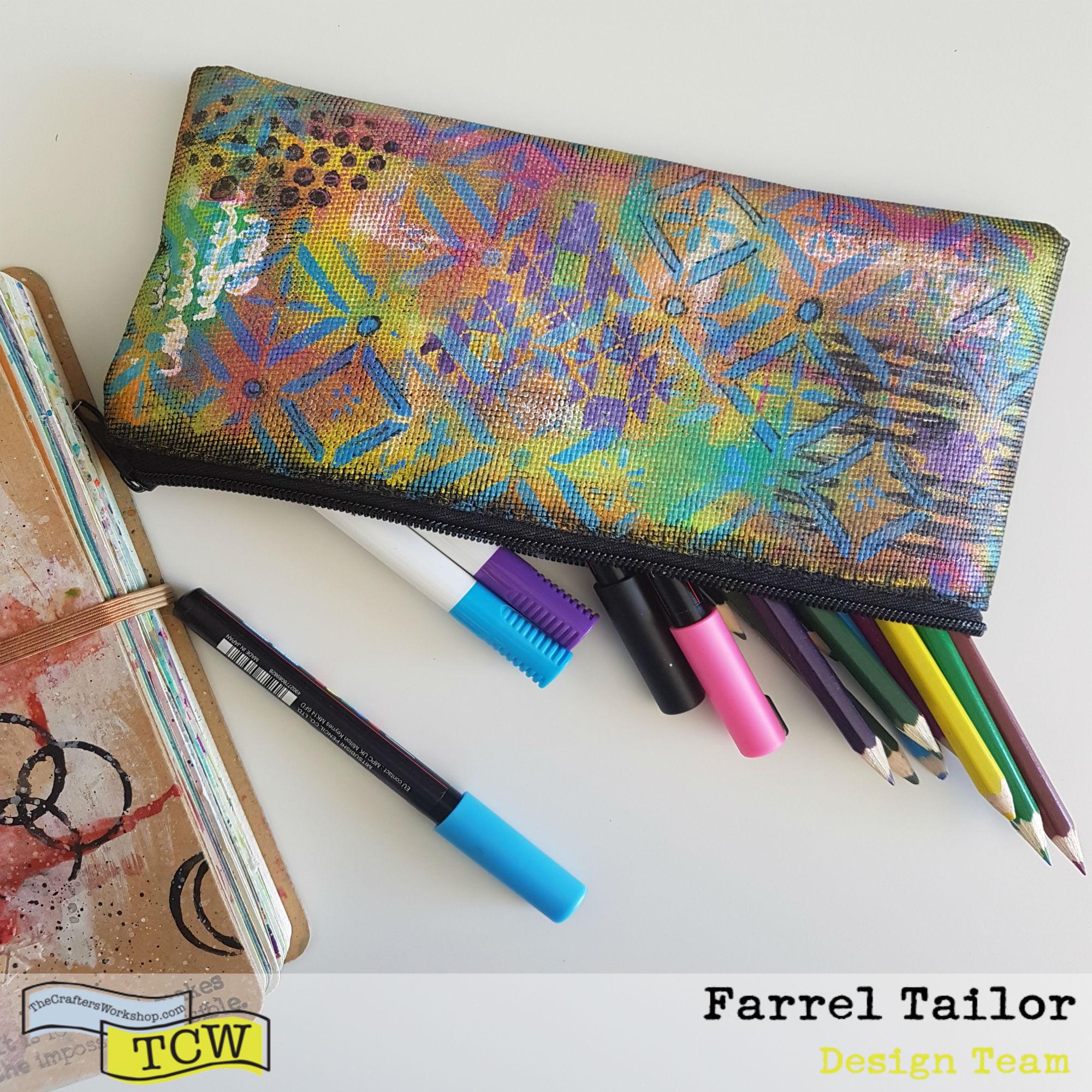 mixed media stenciled pencil case