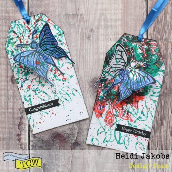 How to create fun gift tags using a monoprinting technique with stencils